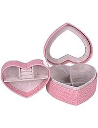 Alto Grado De Joyería De Cuero Caja De La Joyería Caja De Exhibición De La Joyería En Forma De Corazón Doble,Pink2
