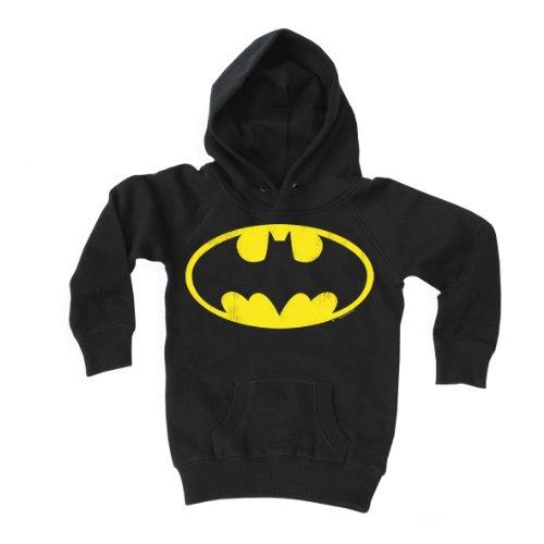 Logoshirt - Kinder Sweatshirt Jungen Batman - Logo - DC Comics - Superheld Kapuzenpullover - schwarz - Lizenziertes Originaldesign, Größe 104