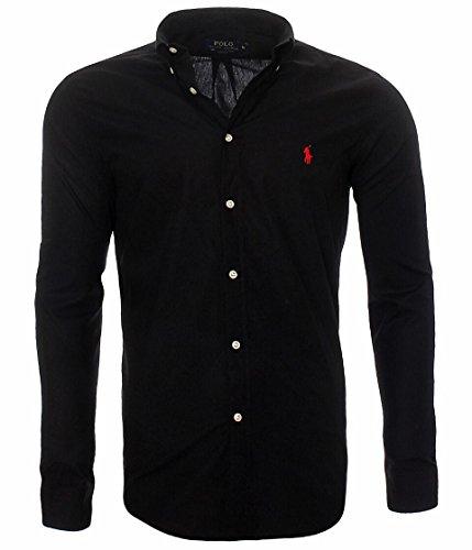 Ralph lauren camicia da uomo classic slim fit s-m-l-xl-xxl, in diversi colori, colore:nero, dimensione:m