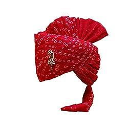 Rajasthani Wedding Safa Mens Cotton Wedding Turban (Sh-666_Red_Free Size)