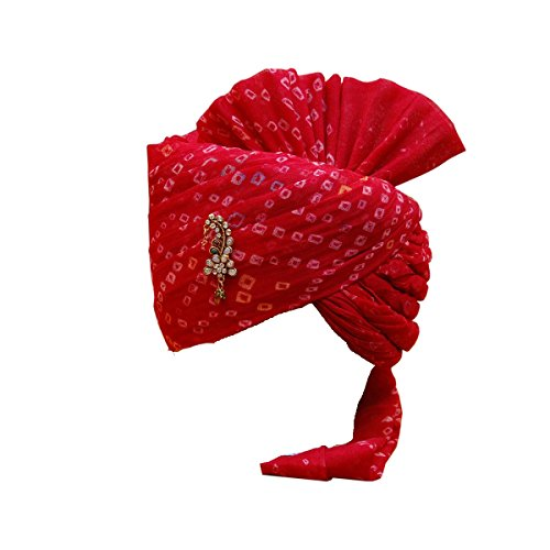 Rajasthani Wedding Safa Men's Cotton Wedding Turban (Sh-666_Red_Free Size)