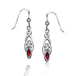Bling Jewelry Garnet Celtic Knotwork Drop Dangle Earrings 925 Sterling Silver