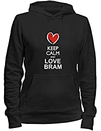 Idakoos Keep calm and love Bram chalk style - Nombres Masculino - Sudadera con capucha para mujer