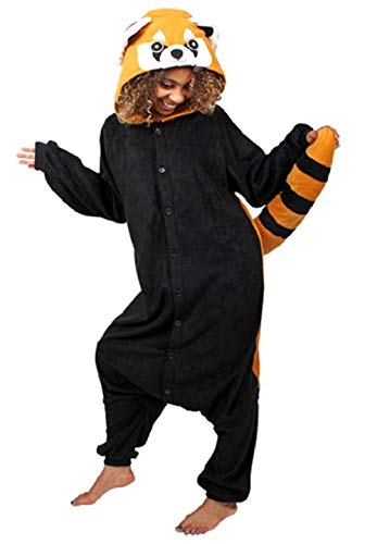 Canberries Damen Herren Jumpsuit Tier Onesie Einhorn Panda Pinguin Giraffe Pyjamas Jumpsuit Anime Cosplay Karneval Kostüm Schlafanzug Erwachsene (XL, Waschbär)