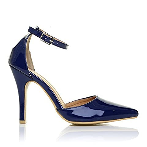 NEW YORK Navy Blue Patent Patent Ankle Strap Pointed High Heel Court Shoes Size UK 8 EU 41