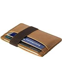 cdaa2919c2 Uomo Portafoglio porta carte di credito in pelle sottile con fascia elastica