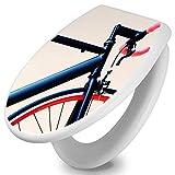 banjado - Design Toilettendeckel WC Sitz Brille 36m x 5cm x 45cm mit Motiv Rennrad, Toilettendeckel:Weiß