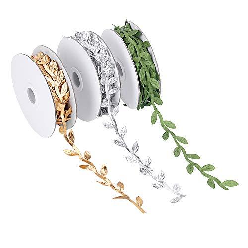 3 Rolls Künstliche Pflanzen Bänder, Grün/Gold / Silber Leaf Ribbon Trim Spule, Geeignet für Kopfbedeckung Partei Blume Baum Hut Dekoration, 1-1/4