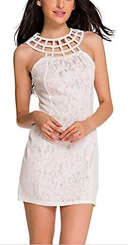 SunIfSnow - Chemise de nuit spécial grossesse - Moulante - Sans Manche - Femme - blanc - S