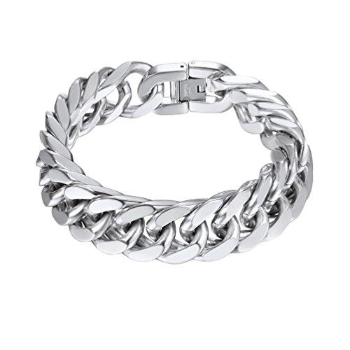 Imagen de prosteel brazalete hombre acero pulsera de hombre de plata tono 21cm acero inoxidable 316l antialérgico regalo para novio regalo de cumpleaños