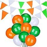 Ensemble de Décoration de Saint-Patrick, Comprenant 3 Pièces Bannière Irlandaise Décoration de Fanion et 30 Pièces Ballons en Latex Blancs Oranges Verts pour Décoration de Fête de Saint-Patrick