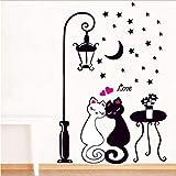 Xqi wangpu Creativo Cat Lovers Wall Sticker Cartoon Coppie Cats Decalcomanie Adesivo Soggiorno Camera da Letto TV Wallpaper Camera dei Bambini Art Mural Decor 33x60cm