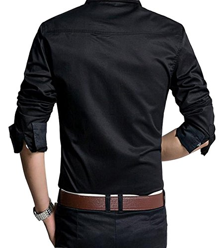 Jeansian Hommes Fashion Shirt Chemises Casual Manches Longues Solid Color Men's Brief Casual Shirt Slim Fit Tops MCF006 Black