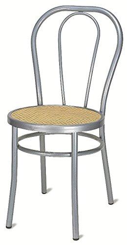 Sedia Vienna da Tavolo Cucina Bar Bistrot In Alluminio Seduta in Paglia