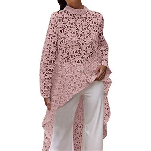 Day.LIN Damen Bequem Mantel Lässig Mode Jacke Frauen mit Langen Ärmeln Vintage Floral Print Patchwork Bluse Spitze Splicing Tops