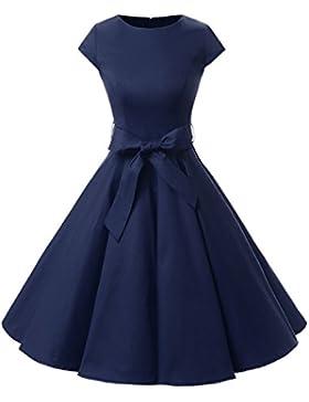 Dressystar Damen Vintage 50er Cap Sleeves Dot Einfarbig Rockabilly Swing Kleider
