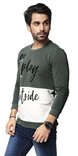 80402f5eb Zeyo Heavy Cotton Olive White Printed Full Sleeve Tshirt for Mens ...