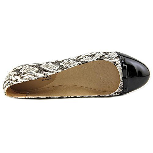 Nina Parade Femmes Cuir Chaussure Plate Black White Snake