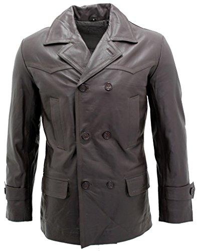 Infinity Herren Braun German Marine Dr Who Kuhfellleder PEA Coat XL