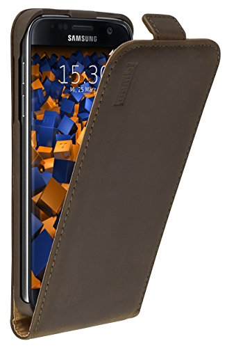 mumbi PREMIUM Vintage Leder Flip Case für Samsung Galaxy S7 Tasche braun Premium Flip Case
