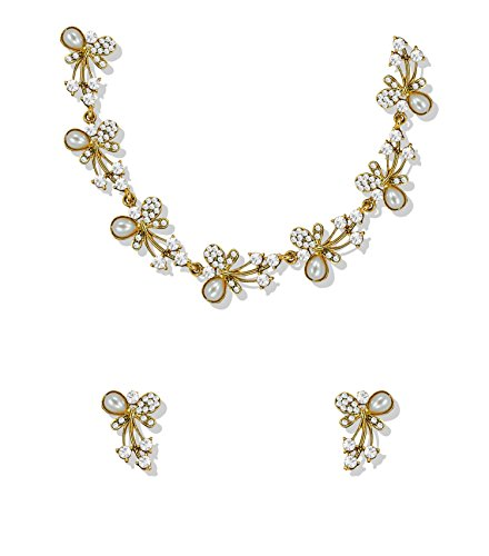 Zaveri Pearls Jewellery Set for Women (Golden)(ZPFK5216)