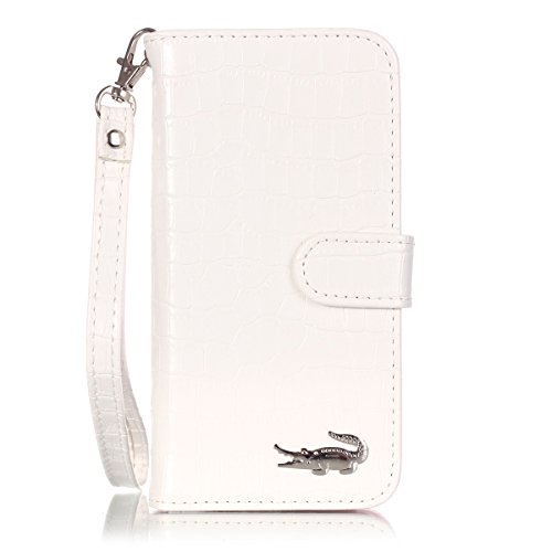 Ekakashop iphone 6 6S 4.7 pollici Cover, iphone 6 Custodia in pelle, iphone 6S Case Copertura di Vibrazione pelle con Magnete Flip Neo Case Stile del Libro coccodrillo di pelle della Protezione di cas Bianca