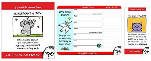 Edward Monkton Kalender, Wochenplaner & Tagebuch Paket – 2019 Schreibtischkalender, Wochenplaner & Slim Tagebuch