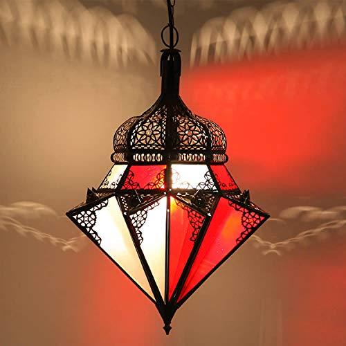 Orientalische Pendelleuchte Marokkanische Lampe | Echtes Kunsthandwerk aus Marokko wie aus 1001 Nacht | Hängelampe Leuchte Pendellampe Laterne | Hängeleuchte Jawhara Rot-Weiss