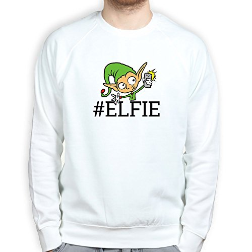 Mens Selfie Elf Santa Christmas Gift Present Tree Sweatshirt 2XL White (Santas Christmas Elf)