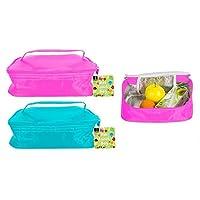 Bambini bello pranzo Cooler Bag con manico due colori assortiti: verde e rosa Materiale: poliestere con fodera in schiuma e lamina Misure approssimative: Cm 23x 18x 8,