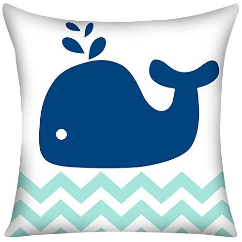 Violetpos Kissenbezug Blau Meer Fisch Winkel Welle Home Decor Werfen Kissen 50 x 50 cm