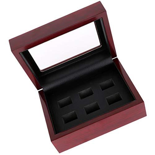 Holz Schmuck Vitrine (P Prettyia Meisterschaft Ring Vitrine Holz Schmuck Geschenkbox Ring Collection Box - Weinrot 6-Loch)