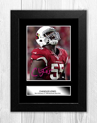 Engravia Digital Chandler Jones NFL Arizona Cardinals A4 Poster mit Reproduktion Autogramm Foto A4 Druck Schwarzer Rahmen -