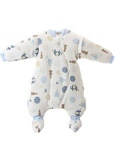 Sacchi nanna per bambino sacco a pelo invernale fasciare regolabile sleepsack tuta arrampicata gambe separati sottile inverno thicker linag , blue , 100/52