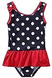 CharmLeaks Baby - Mädchen Einteiler Badeanzug UV-Schutz Dunkelblau & Rot Punkt 2-3 Jahre