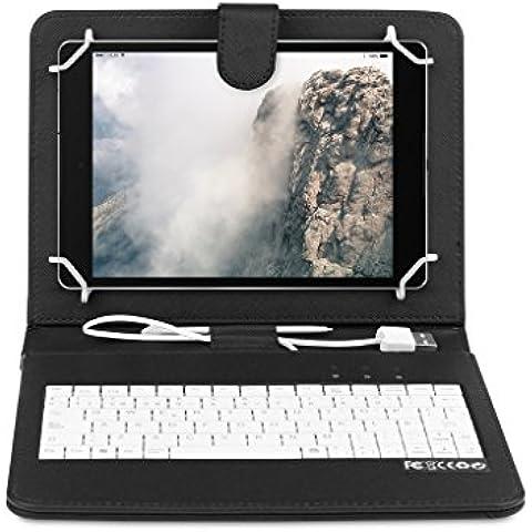 OME® Funda con teclado Tablet 8 pulgadas con conexión MicroUsb-OTG (Negro)