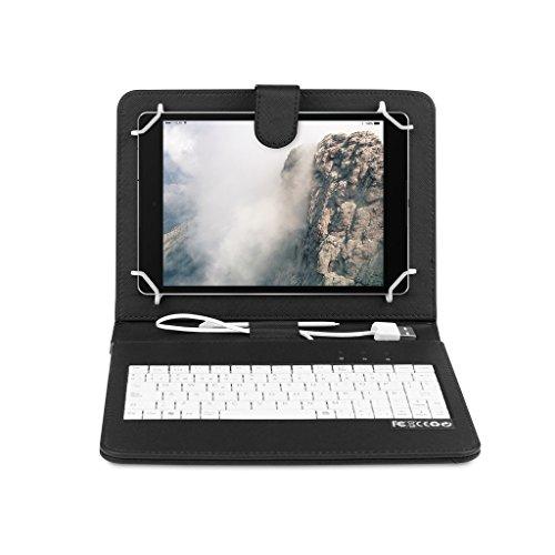 OME® Funda con teclado Tablet 7 pulgadas con conexión MicroUsb-OTG (Negro)