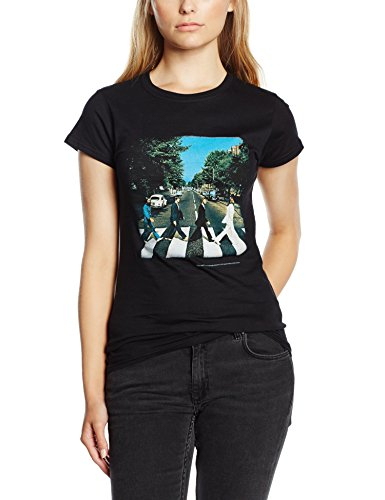 Unbekannt The Beatles Abbey Road Women's Short Sleeve Shirt Gr. 36, Schwarz - Schwarz (Abbey Road Schwarz T-shirt)