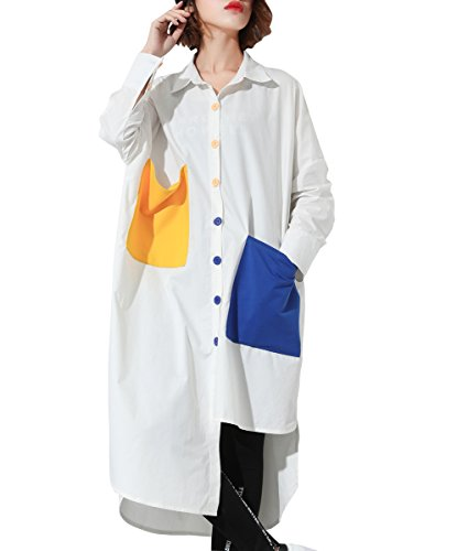 Button-down-bluse Aus Seide (ELLAZHU Damen Locker Button-Down Irregulärer Unterer Saum Langarmshirts GY1225 Weiß)