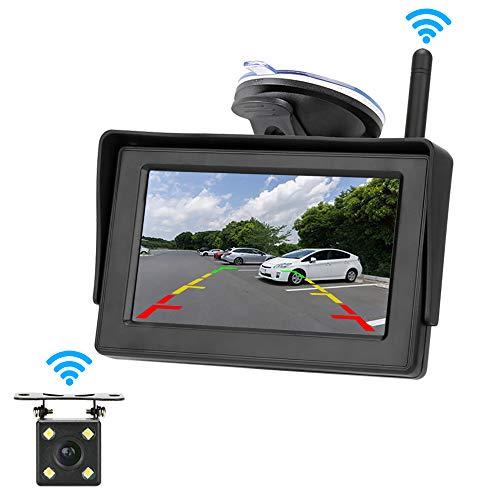 Kabellos Digital Auto-Rückfahrkamera-Monitor, 4,3\'\' LCD-Rückfahrkamera, IP68 wasserdicht Backup-Kamera , mit Super Nachtsicht, Einparkhilfe-System für Vans, Autos, LKW, Wohnmobil