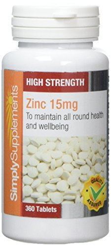Zinco 15 mg - 360 compresse - 1 anno di fornitura - Minerale essenziale - SimplySupplements