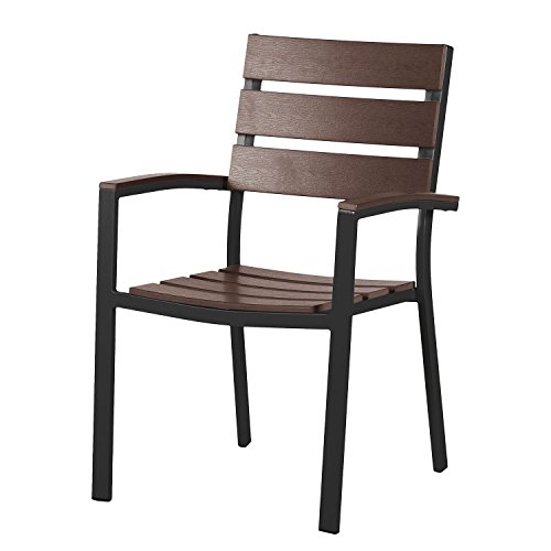 Gartenstuhl Polywood Aluminium Alu Sessel Stuhl Set Holz Optik Gartenmöbel schwarz braun