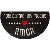 FISURA DM0097 - Felpudo semicircular HR Amor, color blanco con fondo negro