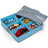 House of Quirk Fabric Shoe Organizer, Blue