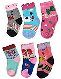 khakey cotton® Cute Baby Girl Multi Color Woolen Socks for winter free size (6, 3-4 YEAR)