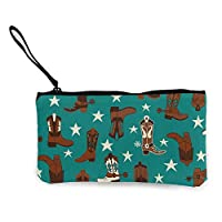 Unisex Wallet, Coin Bags, Women Girls Teens Tees Beautiful Colourful Cotton Teal Cowboy Boots Canvas Smartphone Wristlets Cash Coin Purses Make Up Bag Cellphone Clutch Purse with Wrist Strap