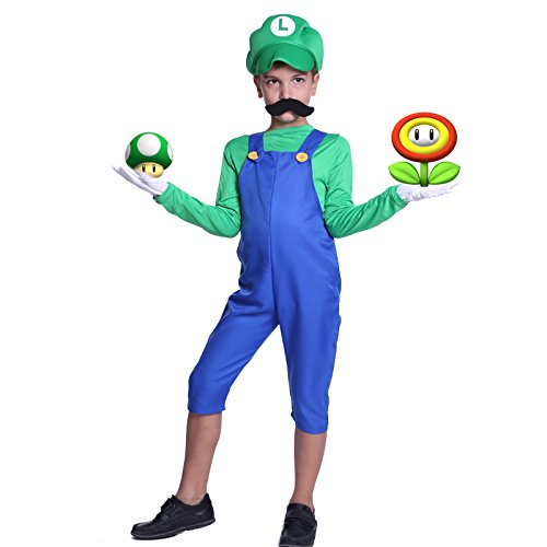 Mario Mädchen Bros Super Kostüm - SurePromise One Stop Solution for Sourcing Super Luigi Mario Gr.M Klempner Kostuem mit Muetze Set Karneval Fasching Kostuem Kinderkostuem Fuer Jungen Maedchen