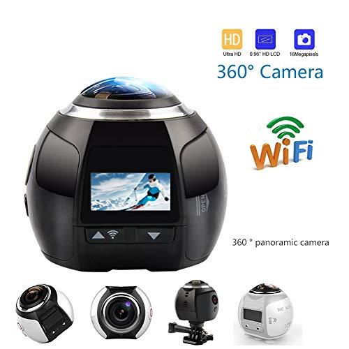 Firestarsdr 360 Grad Panorama Kamera 3D VR Live Video Vollansicht Aktion Sport Kamera 220 Weitwinkel Wasserdichte,4K-Video,Weiß (360-grad-video-camcorder)