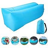 Air Lounger Luft Sofa, Reißfester aufblasbarer Luftsack mit Tragebeutel, im Freien oder zu Hause wie Garten, Schwimmbad, Camping, Strand, Reißfester 210T Plaid-Stoff