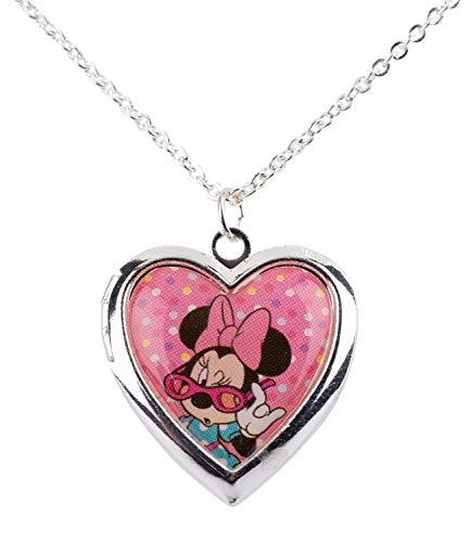 on Disney, Silberne Filigrane Kette mit Amulette von Minnie Mouse, rosa Herz mit Minnie Mouse Abbildung (297-760) ()